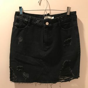 Nasty Gal Black Denim Skirt